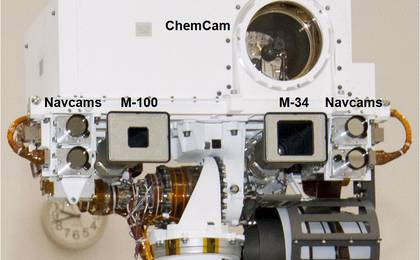 see the image 'Head of Mast on Mars Rover Curiosity (Labeled)'