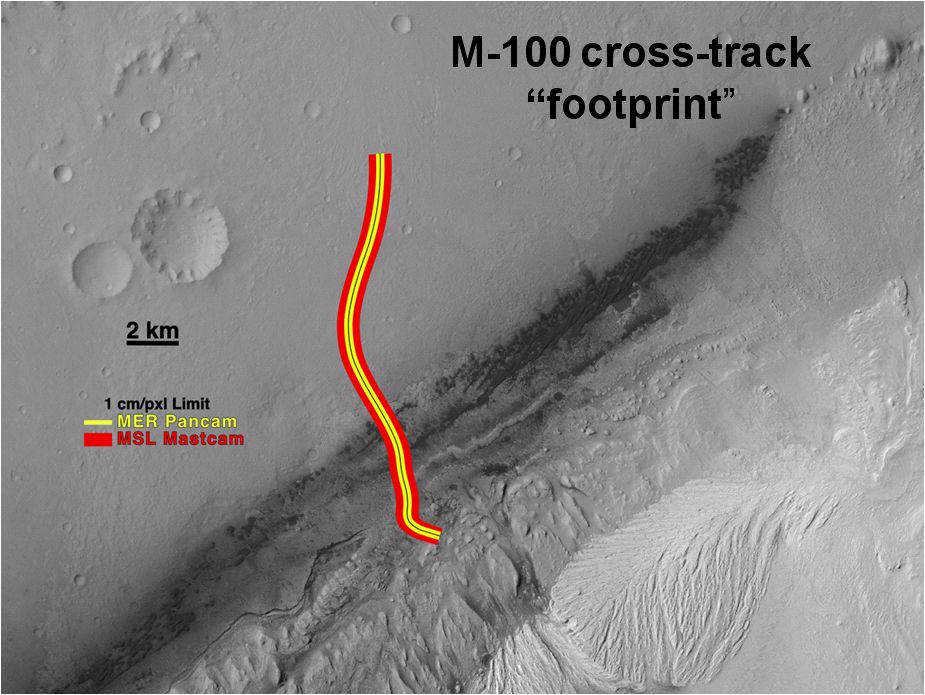 A section of the Mars Science Laboratory's Gale Crater landing site is shown, with a representative path from the landing location toward the layered mound to the south.