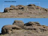 Figure 2 simulates imaging of the same outcrop with M-34 from a distance of 55 yards (50 meters).