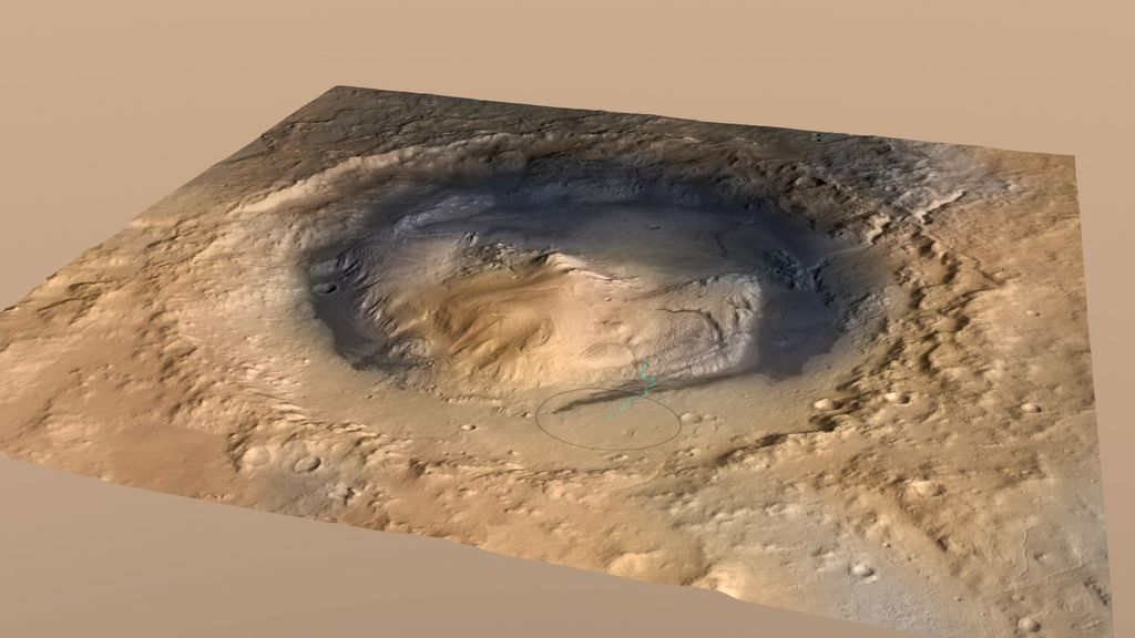 Curiosity, the big rover of NASA's Mars Science Laboratory mission, will land in August 2012 near the foot of a mountain inside Gale Crater.