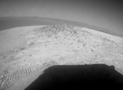 NASA's Mars Exploration Rover Opportunity drove about 12 feet (3.67 meters) on May 8, 2012, after spending 19 weeks working in one place while solar power was too low for driving during the Martian winter.
