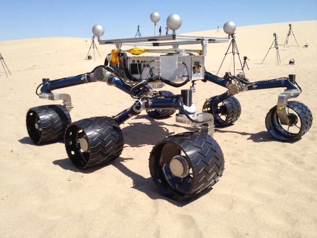 Mars Science Laboratory mission team members ran mobility tests on California sand dunes in early May 2012 in preparation for operating the Curiosity rover, currently en route to Mars, after its landing in Mars' Gale Crater.