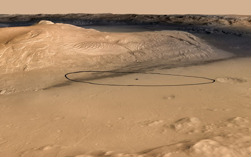 As of June 2012, the target landing area for Curiosity, the rover of NASA's Mars Science Laboratory mission, is the ellipse marked on this image. The ellipse is about 12 miles long and 4 miles wide (20 kilometers by 7 kilometers).