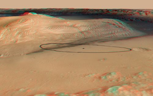 As of June 2012, the target landing area for Curiosity, the rover of NASA's Mars Science Laboratory mission, is the ellipse marked on this image, about 12 miles long and 4 miles wide (20 kilometers by 7 kilometers).