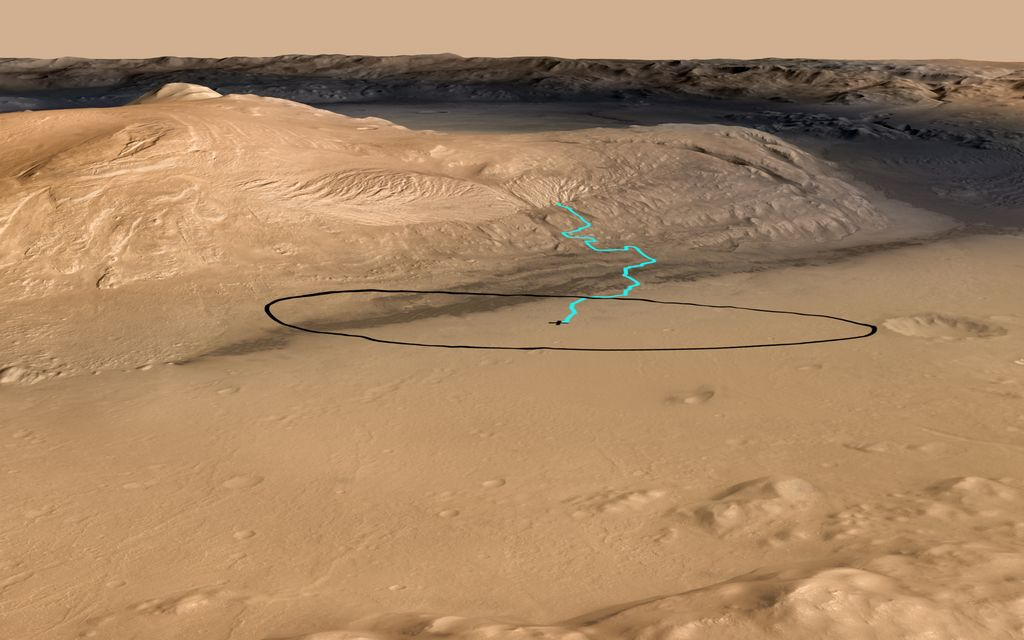 As of June 2012, the target landing area for Curiosity, the rover inside NASA's Mars Science Laboratory spacecraft, is the ellipse marked in black on this image.