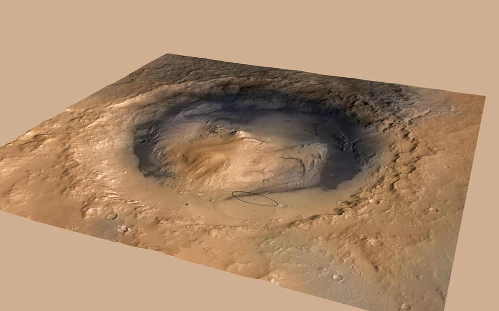 A June 2012 revision of the landing target area for Curiosity, the big rover of NASA's Mars Science Laboratory mission, reduces the area's size.