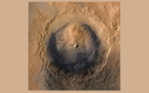 As of June 2012, the target landing area for NASA's Mars Science Laboratory mission is the ellipse marked on this image of Gale Crater.