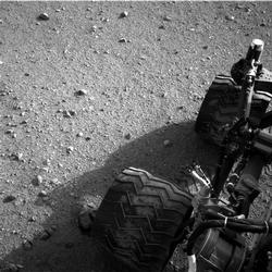 Martian Soil on Curiosity's Wheels After Sol 22 Drive