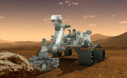 Artist's concept of Curiosity at Gale Crater