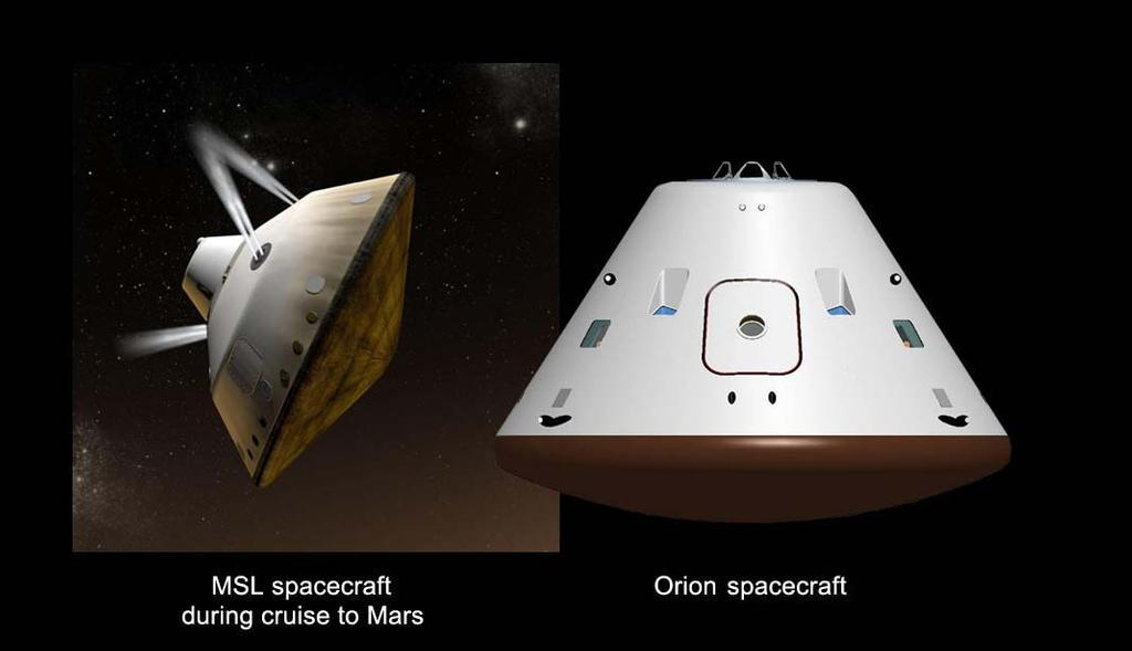 This set of artist's concepts shows NASA's Mars Science Laboratory cruise capsule and NASA's Orion spacecraft