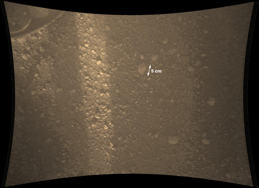 This full-resolution color image from NASA's Curiosity Rover shows the gravel-covered surface of Mars. It was taken by the Mars Descent Imager (MARDI) several minutes after Curiosity touched down on Mars.