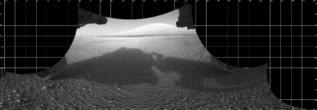 The Curiosity engineering team created this view from images taken by NASA's Curiosity rover front hazard avoidance cameras underneath the rover deck on Sol 0.