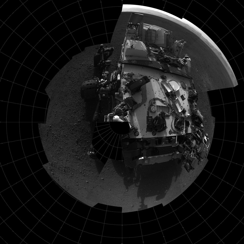 This self-portrait shows the deck of NASA's Curiosity rover from the rover's Navigation camera.