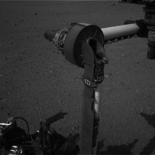 This full-resolution image from NASA's Curiosity shows the elbow joint of the rover's extended robotic arm on Aug. 20, 2012. The Navigation Camera captured this view.