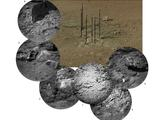 This photo mosaic shows the scour mark, dubbed Goulburn, left by the thrusters on the sky crane that helped lower NASA's Curiosity rover to the Red Planet.
