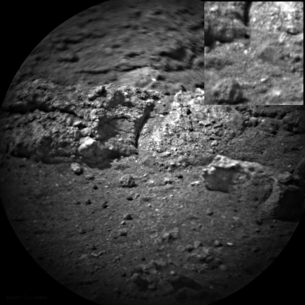 Images taken before and after NASA's Curiosity rover shot its laser 50 times are shown here.