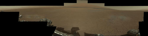 Image of Landing Site Panorama, with the Heights of Mount Sharp (Raw Colors)