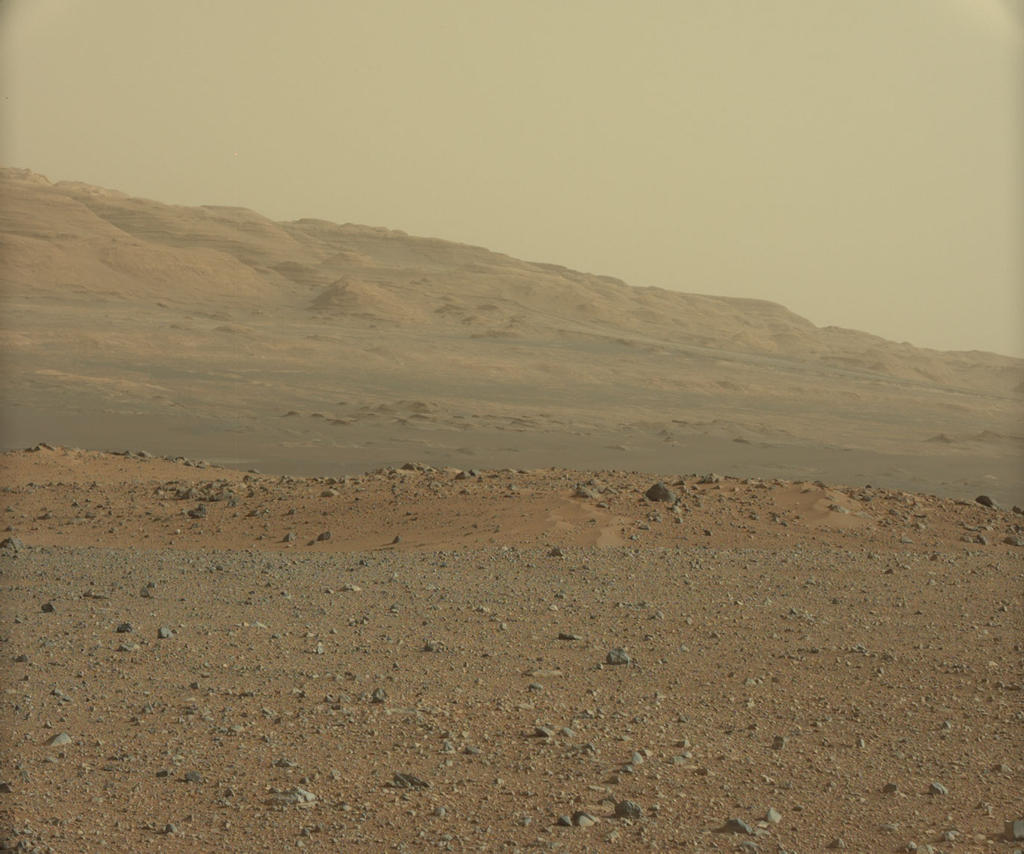 This image is from a series of test images to calibrate the 34-millimeter Mast Camera on NASA's Curiosity rover. It was taken on Aug. 23, 2012 and looks south-southwest from the rover's landing site.