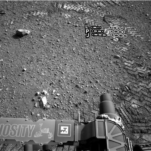 The straight lines in Curiosity's zigzag track marks are Morse code for JPL, which is short for NASA's Jet Propulsion Laboratory in Pasadena, Calif., where the rover was built and the mission is managed.