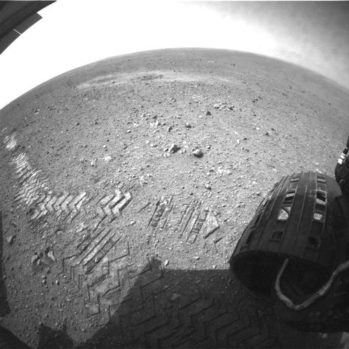 This image shows a close-up of track marks left by NASA's Curiosity rover.