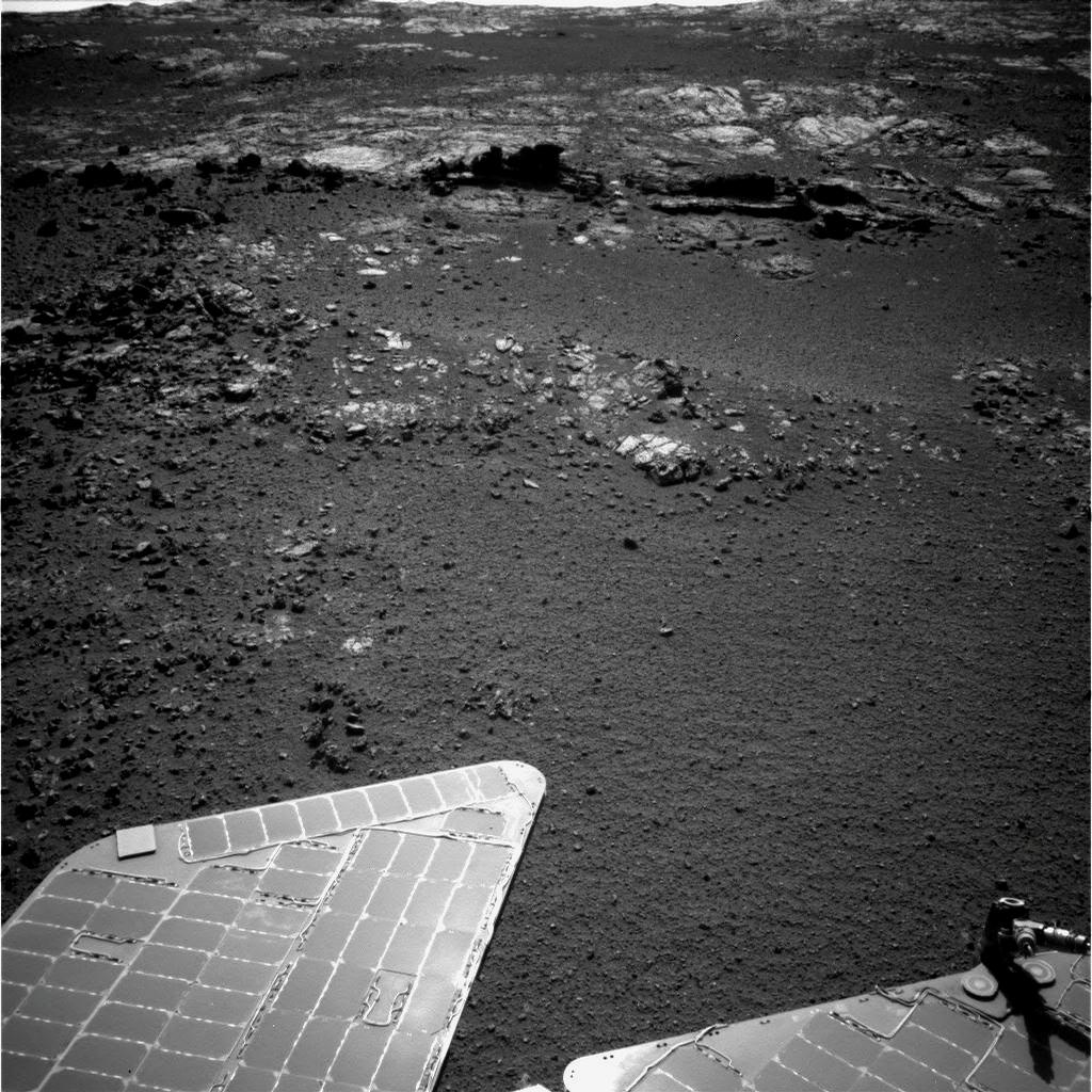The team operating NASA's Mars Exploration Rover Opportunity plans to investigate rocks in this area photographed by the rover's navigation camera during the 3,057th Martian day, or sol, of Opportunity's work on Mars (Aug. 23, 2012).