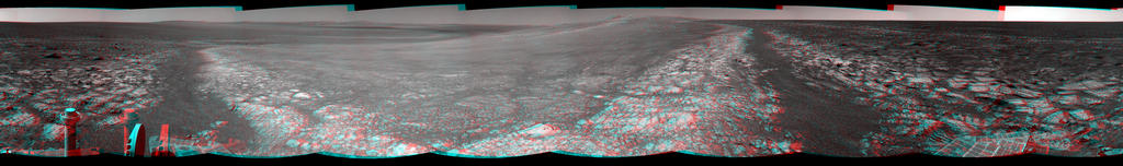 This 360-degree stereo panorama assembled from images taken by the navigation camera on NASA's Mars Exporation Rover Opportunity shows terrain surrounding the position where the rover spent its 3,000th Martian day, or sol, working on Mars (July 2, 2012).