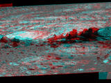 Rock fins up to about 1 foot (30 centimeters) tall dominate this stereo scene from the panoramic camera (Pancam) on NASA's Mars Exploration Rover Opportunity. The component images were taken during the 3,058th Martian day, or sol, of Opportunity's work on Mars (Aug. 23, 2012).