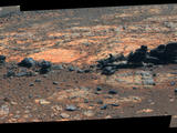 Rock fins up to about 1 foot (30 centimeters) tall dominate this scene from the panoramic camera (Pancam) on NASA's Mars Exploration Rover Opportunity.