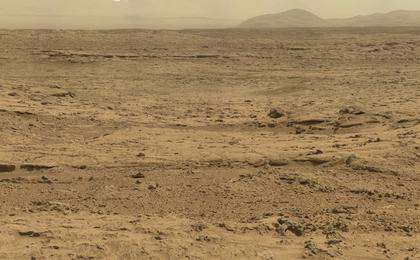 Panoramic View From 'Rocknest' Position of Curiosity Mars Rover (Raw Colors)
