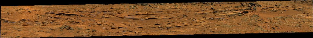 view 'Wide View of 'Shaler' Outcrop, Sol 120 (Raw Colors)'