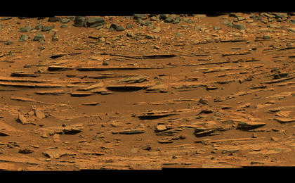 see the image 'Wide View of 'Shaler' Outcrop, Sol 120 (Raw-color)'