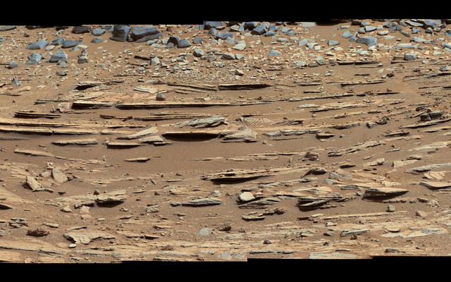Wide View of 'Shaler' Outcrop, Sol 120