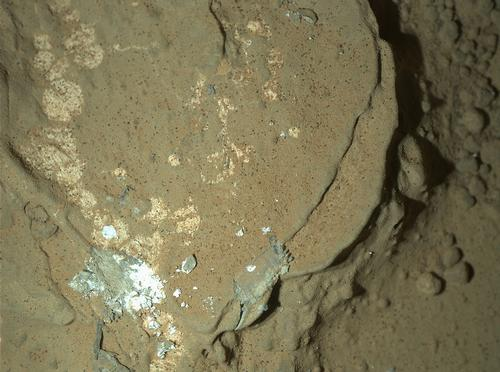This image of a Martian rock illuminated by white-light LEDs (light emitting diodes) is part of the first set of nighttime images taken by the Mars Hand Lens Imager (MAHLI) camera at the end of the robotic arm of NASA's Mars rover Curiosity.