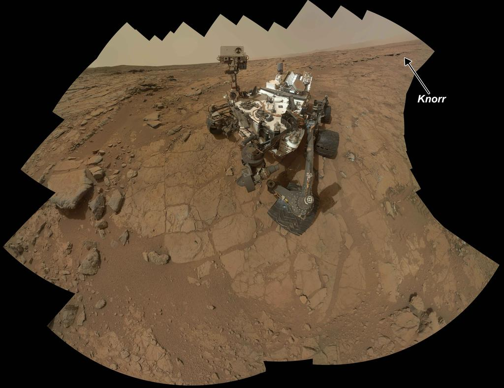 "The location of a rock target called ""Knorr"" is indicated on this self-portrait of the Curiosity rover in the ""Yellowknife Bay"" area."