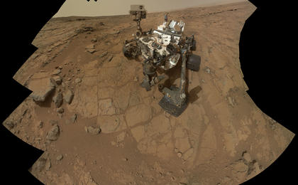 see the image 'Curiosity Rover's Self Portrait at 'John Klein' Drilling Site'