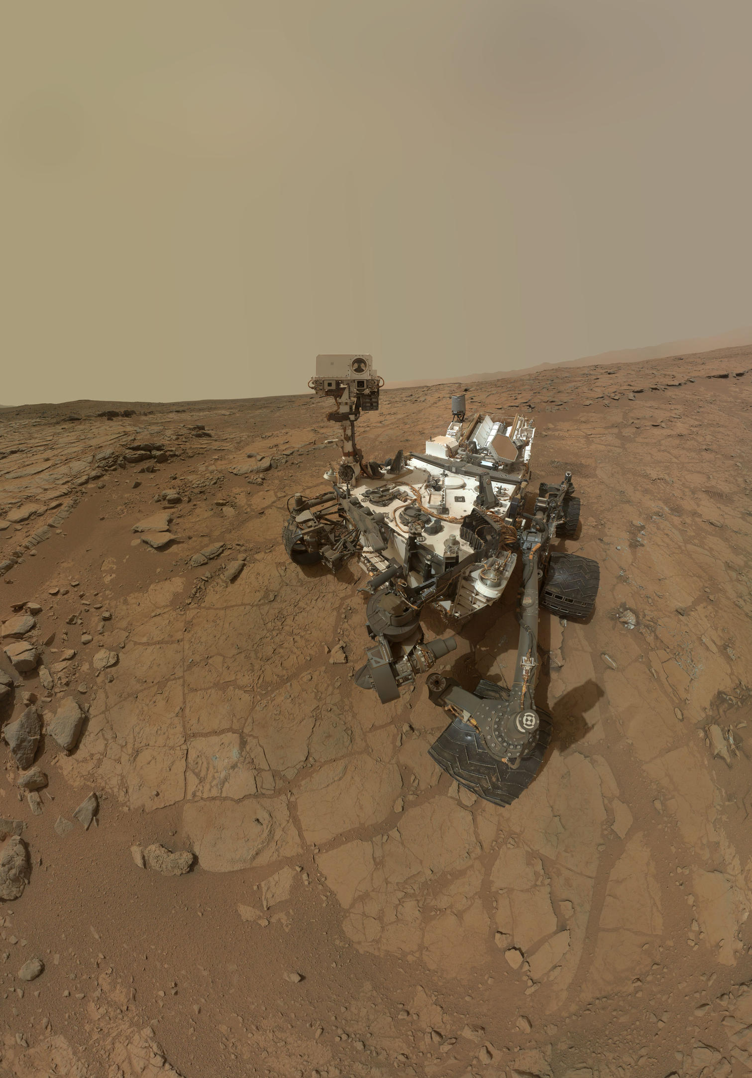 Curiosity Rover's Self Portrait at 'John Klein' Drilling Site, Cropped