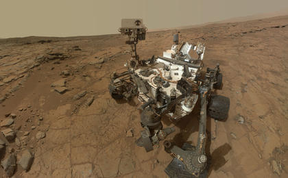 see the image 'Curiosity Rover's Self Portrait at 'John Klein' Drilling Site, Cropped'