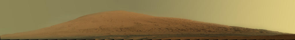 This mosaic of images from the Mast Camera (Mastcam) on NASA's Mars rover Curiosity shows Mount Sharp in raw color as recorded by the camera.
