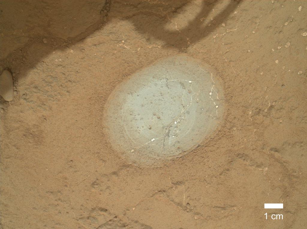 "The gray area in the center of this image is where the Dust Removal Tool on the robotic arm of NASA's Mars rover Curiosity brushed a rock target called ""Wernecke."""