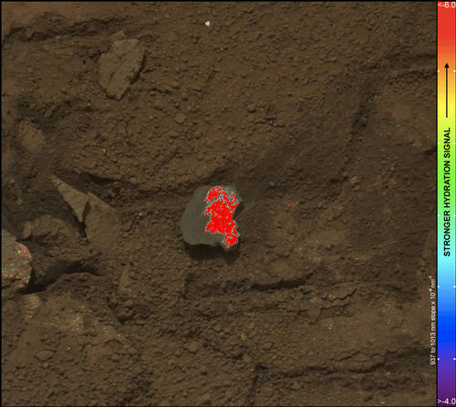 "On this image of the broken rock called ""Tintina,"" color coding maps the amount of mineral hydration indicated by a ratio of near-infrared reflectance intensities measured by the Mast Camera (Mastcam) on NASA's Mars rover Curiosity."