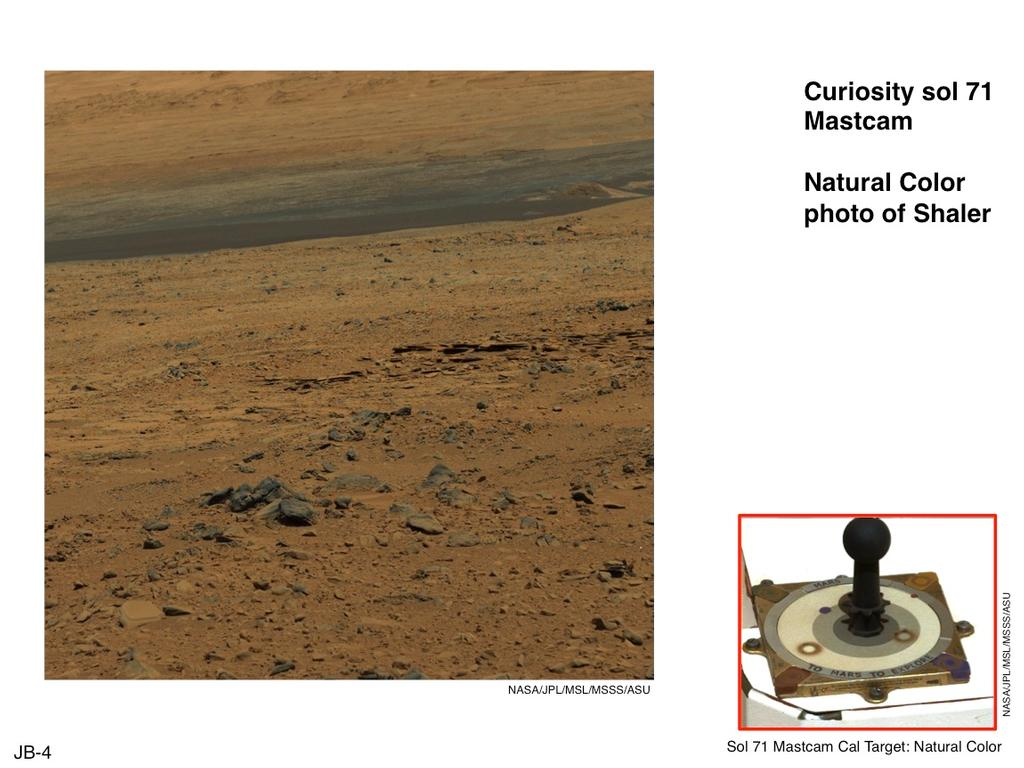 "This image of terrain inside Mars' Gale Crater and the inset of the calibration target for the Mast Camera (Mastcam) on NASA's Mars rover Curiosity illustrate how the calibration target aids researchers in adjusting images to estimate ""natural"" color, or approximately what the colors would look like if we were to view the scene ourselves on Mars, using the known colors of materials on the target."