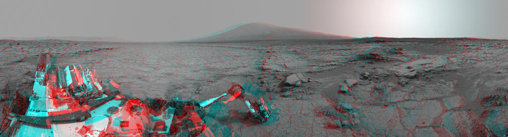 Left and right eyes of the Navigation Camera (Navcam) in NASA's Curiosity Mars rover took the dozens of images combined into this stereo scene of the rover and its surroundings