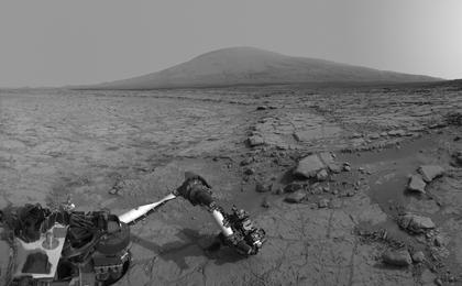 see the image 'Mars View from 'John Klein' to Mount Sharp, Right Eye'