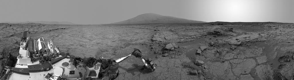 This left-eye member of a stereo pair of images from the Navigation Camera (Navcam) on NASA's Curiosity Mars rover shows a full 360-degree view of the rover's surroundings at the site where it first drilled into a rock.