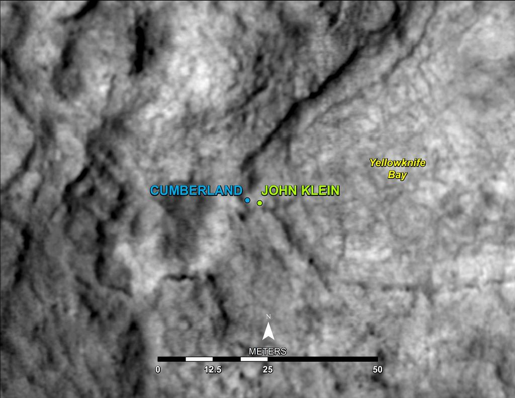 "This map shows the location of ""Cumberland,"" the second rock-drilling target for NASA's Mars rover Curiosity, in relation to the rover's first drilling target, ""John Klein,"" within the southwestern lobe of a shallow depression called ""Yellowknife Bay."""