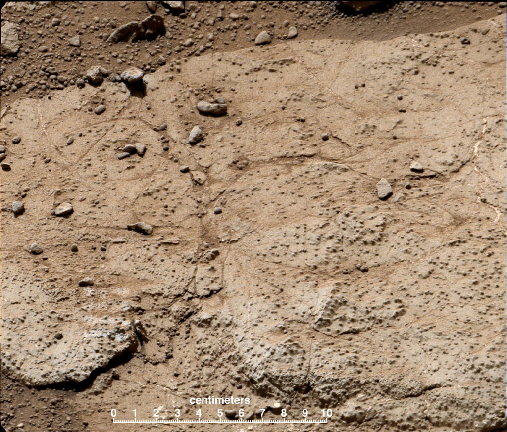 "This patch of bedrock, called ""Cumberland,"" has been selected as the second target for drilling by NASA's Mars rover Curiosity."