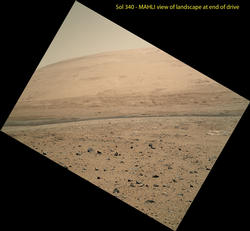 View From Curiosity's Arm-Mounted Camera After a Long Drive