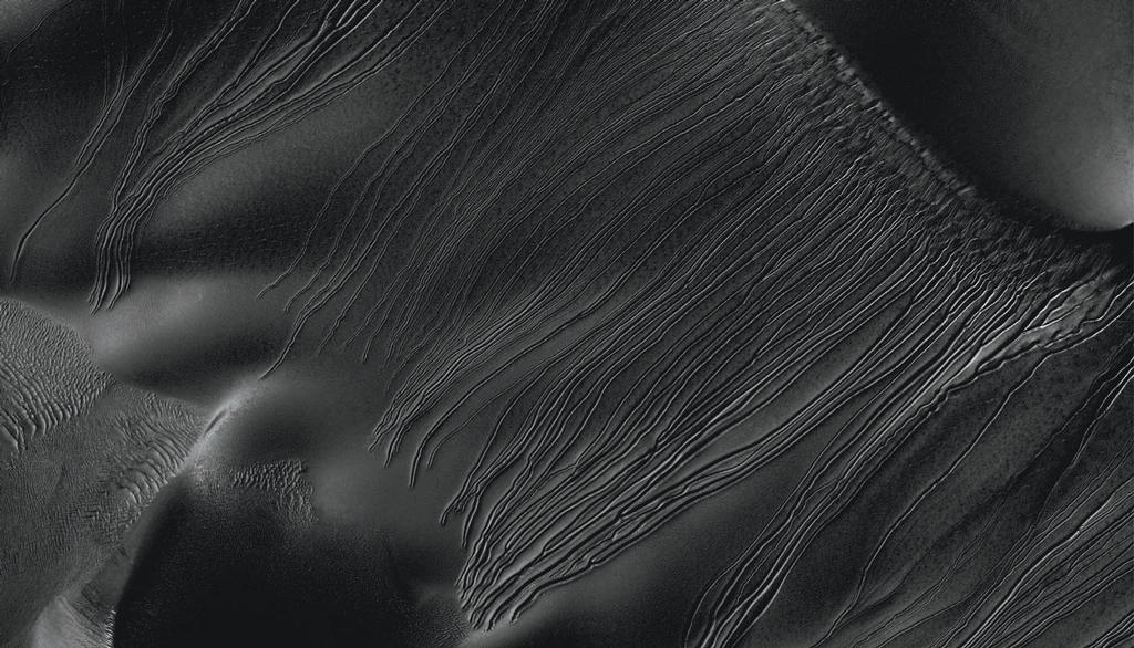 "Several types of downhill flow features have been observed on Mars. This image from the High Resolution Imaging Science Experiment (HiRISE) camera on NASA's Mars Reconnaissance Orbiter is an example of a type called ""linear gullies."""