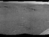 "NASA's Mars Exploration Rover Opportunity used its navigation camera to record this view of a rise called ""Nobbys Head"" during a stop on a multi-week southward drive between two raised segments of the west rim of Endeavour Crater."