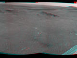 "NASA's Mars Exploration Rover Opportunity used its navigation camera (Navcam) to record this stereo view of a rise called ""Nobbys Head"" during a stop on a multi-week southward drive between two raised segments of the west rim of Endeavour Crater."